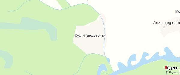 Карта Куста-Лындовской деревни в Архангельской области с улицами и номерами домов