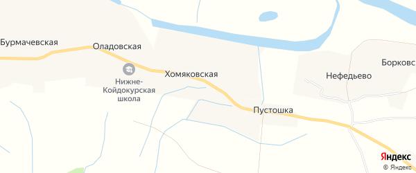 Карта Хомяковской деревни в Архангельской области с улицами и номерами домов