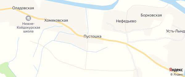 Карта деревни Пустошки в Архангельской области с улицами и номерами домов