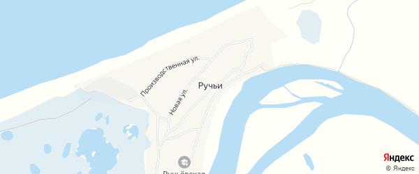 Карта села Ручьи в Архангельской области с улицами и номерами домов