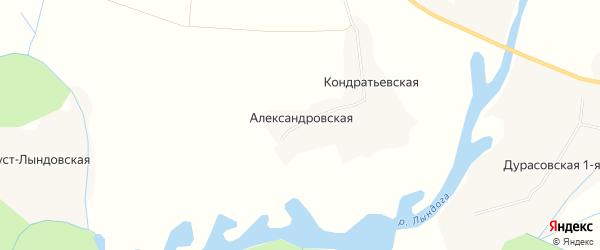 Карта Александровской деревни в Архангельской области с улицами и номерами домов