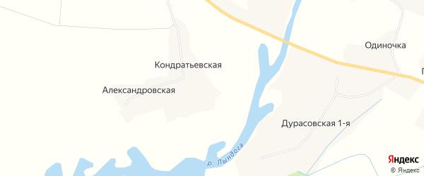 Карта Кондратьевской деревни в Архангельской области с улицами и номерами домов