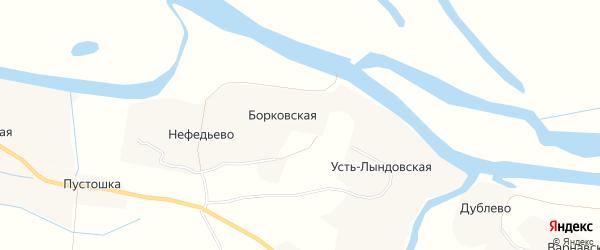 Карта Борковской деревни в Архангельской области с улицами и номерами домов