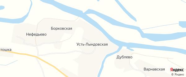 Карта Усть-Лындовской деревни в Архангельской области с улицами и номерами домов