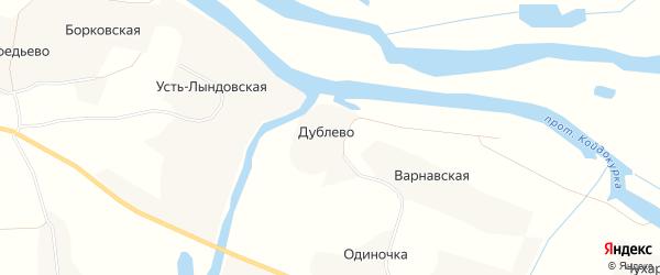 Карта деревни Дублево в Архангельской области с улицами и номерами домов