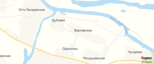 Карта Варнавской деревни в Архангельской области с улицами и номерами домов