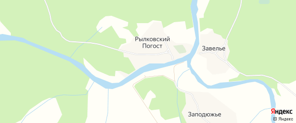 Карта поселка Рылковского Погоста в Архангельской области с улицами и номерами домов
