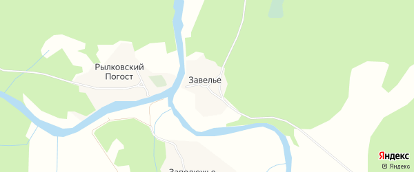 Карта деревни Завелье в Архангельской области с улицами и номерами домов