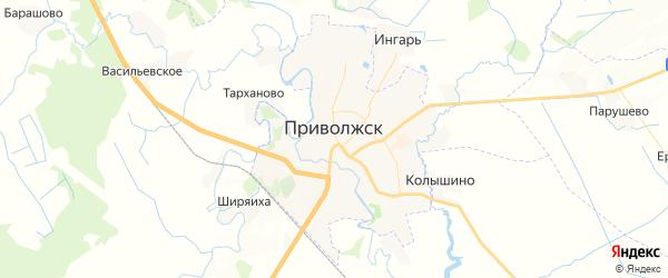 Карта Приволжска с районами, улицами и номерами домов