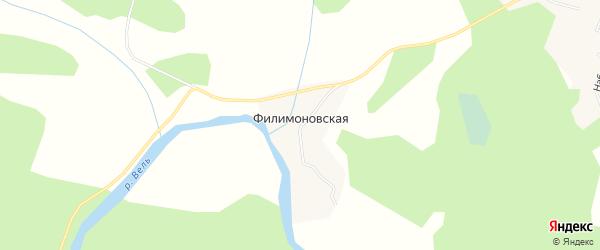 Карта Филимоновской деревни в Архангельской области с улицами и номерами домов