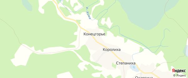 Карта деревни Конецгорья в Архангельской области с улицами и номерами домов