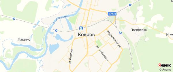 Карта Коврова с районами, улицами и номерами домов