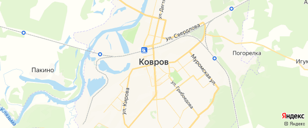 Карта Коврова с районами, улицами и номерами домов: Ковров на карте России