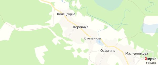 Карта деревни Королихи в Архангельской области с улицами и номерами домов