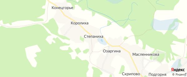 Карта деревни Степанихи в Архангельской области с улицами и номерами домов