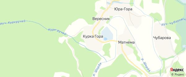 Карта деревни Курки Горы в Архангельской области с улицами и номерами домов