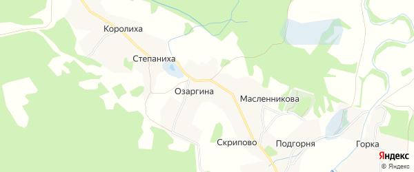 Карта деревни Озаргиной в Архангельской области с улицами и номерами домов