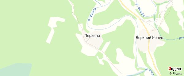 Карта деревни Перхиной в Архангельской области с улицами и номерами домов