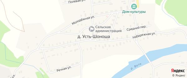Нагорный переулок на карте поселка Усть-Шоноши с номерами домов