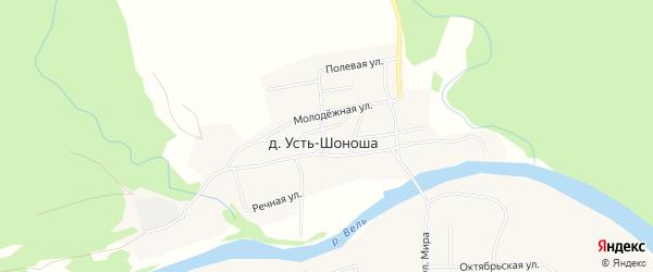 Карта поселка Усть-Шоноши в Архангельской области с улицами и номерами домов