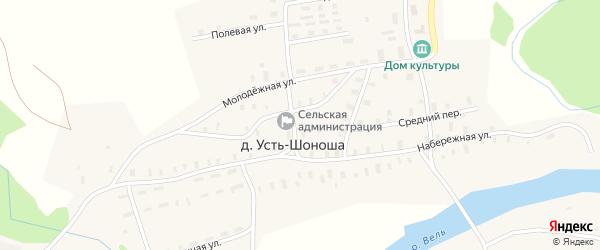 Набережная улица на карте деревни Усть-Шоноши с номерами домов