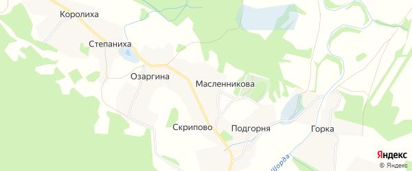 Карта деревни Масленникова в Архангельской области с улицами и номерами домов