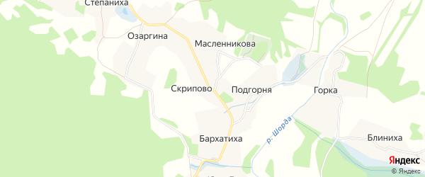 Карта деревни Скрипово в Архангельской области с улицами и номерами домов