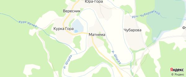 Карта деревни Матнема в Архангельской области с улицами и номерами домов