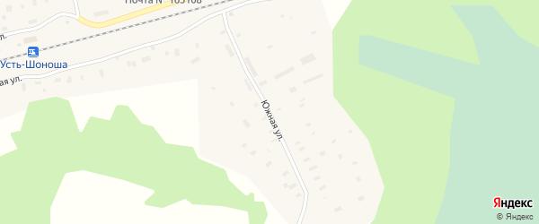 Южная улица на карте поселка Усть-Шоноши с номерами домов