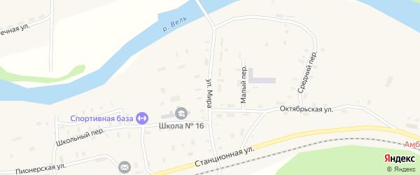 Улица Мира на карте поселка Усть-Шоноши с номерами домов