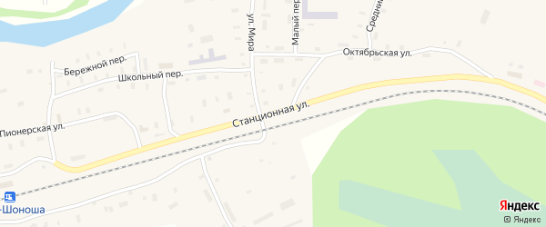 Станционная улица на карте поселка Усть-Шоноши с номерами домов