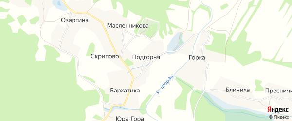 Карта деревни Подгорни в Архангельской области с улицами и номерами домов