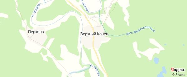 Карта деревни Верхнего Конца в Архангельской области с улицами и номерами домов