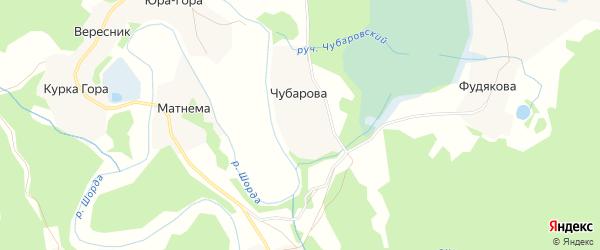 Карта деревни Чубарова в Архангельской области с улицами и номерами домов