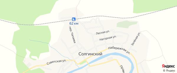 Карта Солгинский поселка в Архангельской области с улицами и номерами домов