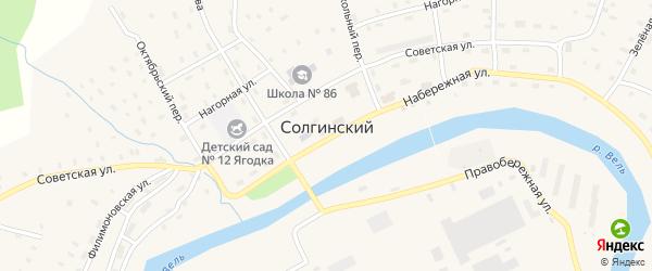 Октябрьский переулок на карте Солгинский поселка с номерами домов