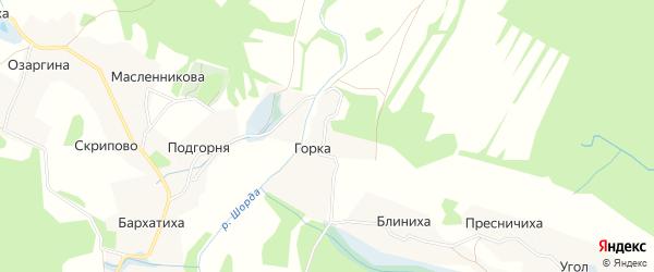 Карта деревни Горка (Коневский с/с) в Архангельской области с улицами и номерами домов