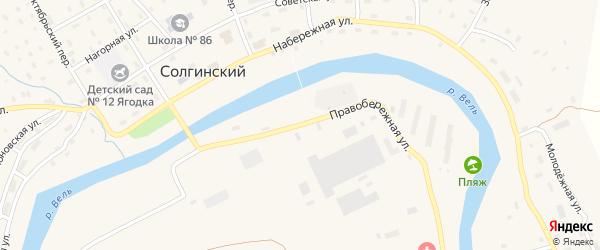 Правобережная улица на карте Солгинский поселка с номерами домов