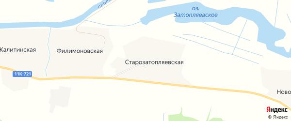 Карта Старозатопляевской деревни в Архангельской области с улицами и номерами домов