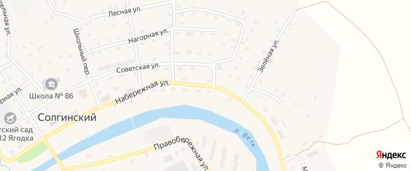 Набережная улица на карте Солгинский поселка с номерами домов