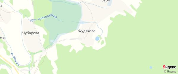 Карта деревни Фудякова в Архангельской области с улицами и номерами домов