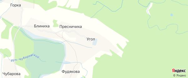 Карта деревни Угла в Архангельской области с улицами и номерами домов