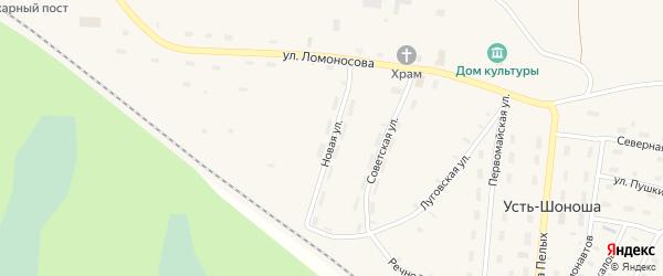 Новая улица на карте поселка Усть-Шоноши с номерами домов