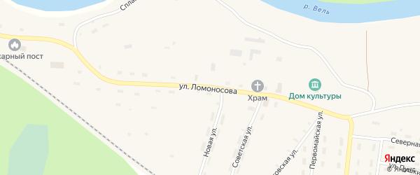 Улица Ломоносова на карте поселка Усть-Шоноши с номерами домов