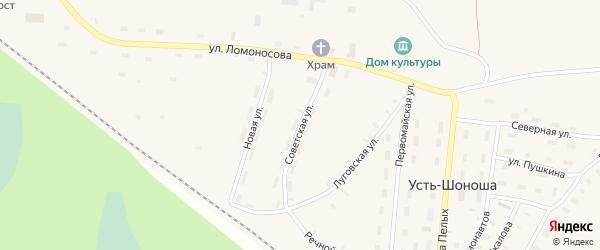 Советская улица на карте поселка Усть-Шоноши с номерами домов