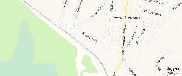 Речной переулок на карте поселка Усть-Шоноши с номерами домов