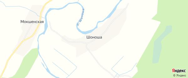 Карта деревни Шоноши в Архангельской области с улицами и номерами домов