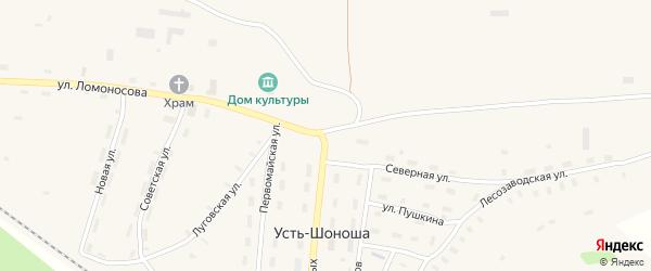 Бережной переулок на карте поселка Усть-Шоноши с номерами домов
