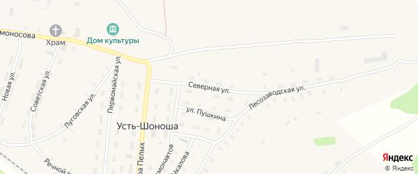Северная улица на карте поселка Усть-Шоноши с номерами домов