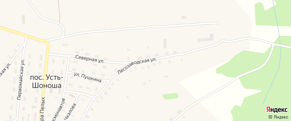 Лесозаводская улица на карте поселка Усть-Шоноши с номерами домов